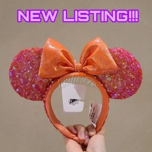 DISNEY PARKS CORAL SEQUINED EARS HEADBAND